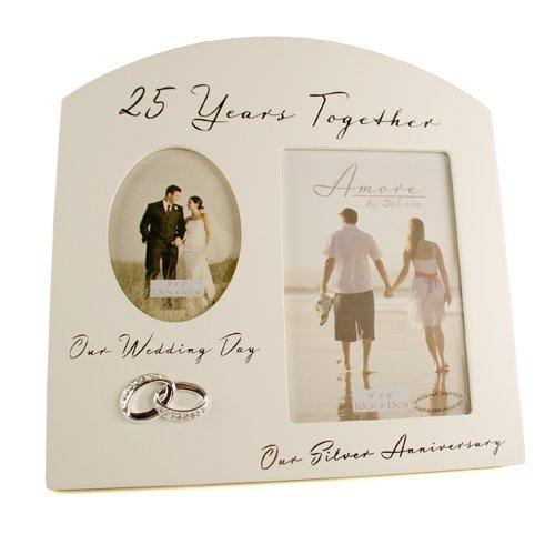 Plateado 25th aniversario de boda regalo de recuerdo de Multi foto Marco de fotos