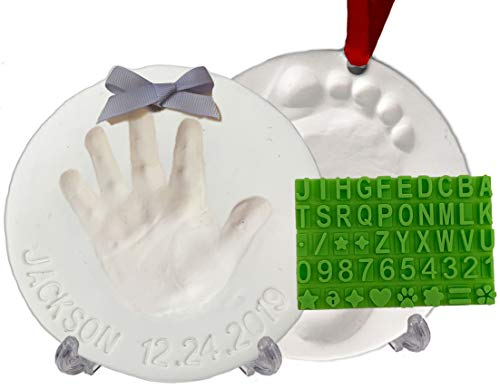 Baby Handprint Footprint Keepsake Ornament Kit (Makes 2) - Bonus Stencil for...