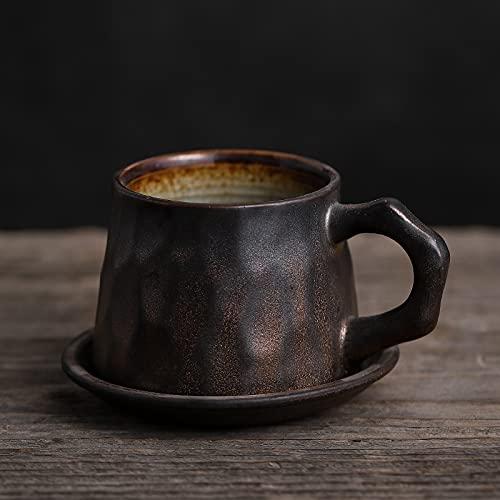 Xiaobing Taza de café Hecha a Mano de gres Retro con Plato de Horno de cerámica para Juego de Tazas de Agua doméstica-Negro dorado-201-300ml