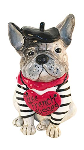 Blue Sky Ceramics Free French Kisses Bull Dog Treat Jar, Multi