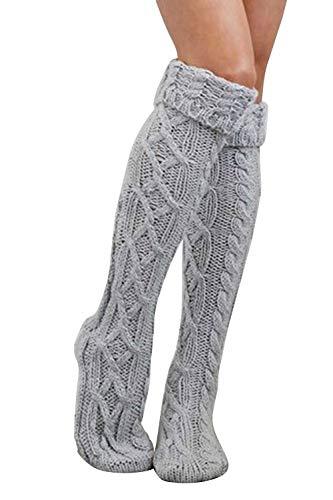 Sopliagon Calcetines De Bota Hasta La Rodilla Para Mujer (F, gris)