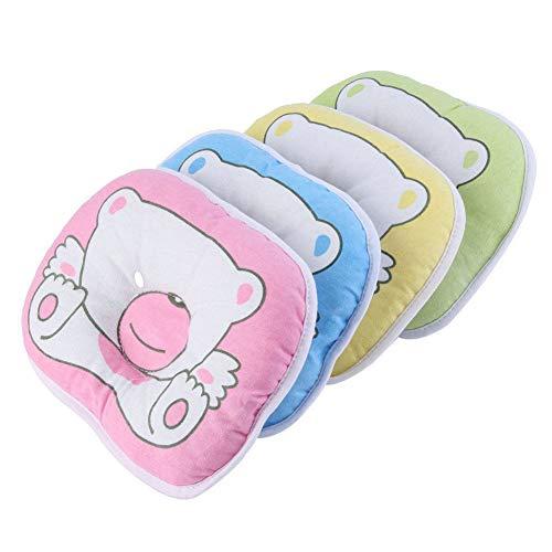 LAJIFENLEI Newborn Infant Baby Bear Pattern Pillow Support Cushion Prevent Flat Head Soft (Green, ONE Size)