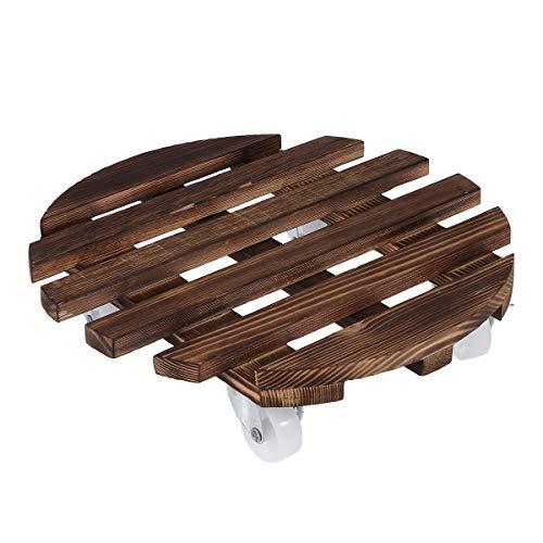 UPKOCH BEST30x30cm Runde rustikale bewegliche Lattenrost Holz Pflanzer Rollcontainer Rotierende Rollen Roller Rolling Tray Coaster Rot Rostfreie Blumentöpfe Stehen für Hausgarten im Freien