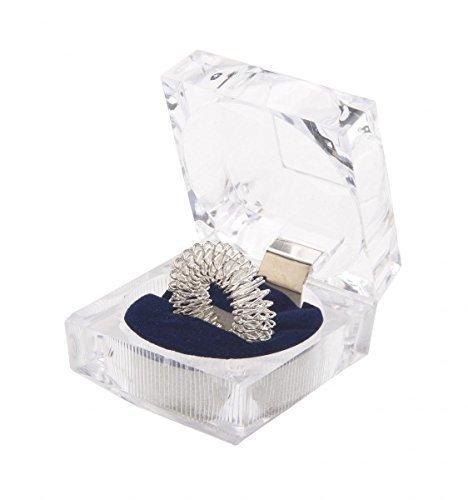 chi-enterprise Premium Massagering für die Finger | Anti Stress - Akupressur Ring - Antistress Ring | Akupressur Ring - Anxiety Ring | 1x Silber, groß mit Schatulle