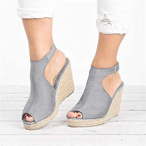 DMWMD Sandales compensées à la Mode pour Femmes,Sandales à Semelles épaisses Augmentant la Hauteur,compensées Solides,Sangle à Boucle décontractée,Chaussures Romaines,Sandales de Plage d'été