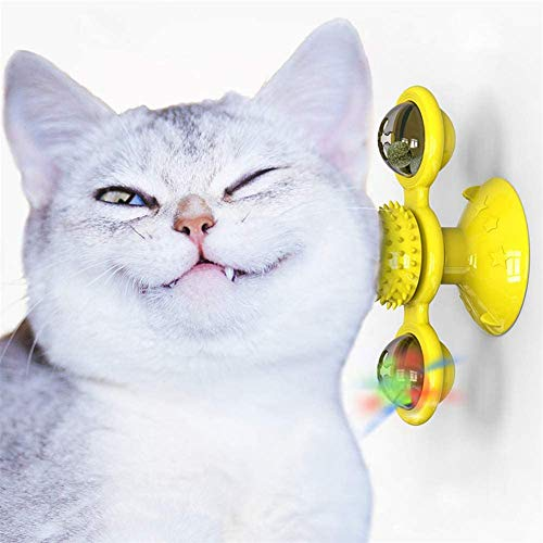 KRY Windmill Cat Toy with Catnip Ball and LED Ball Turntable Teasing, Funny Kitten Windmill ball Massage Scratch Brush (Yellow)