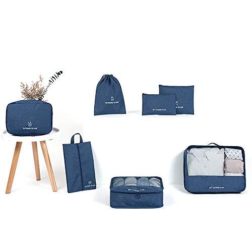 Baomasir - Set di 7 borse porta abiti da viaggio, organizer per valigie e cosmetici, colore: blu scuro