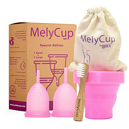 MelycupCopa Menstrual Interior Mujeres Suave Silicona Médica Orgánica Ecológica Flexible Certificado FDA Económica Plegable Flujo Regular Abundante Paquete Deportivo (Ancha, Rosa)