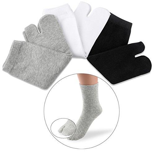 NUOLUX 3 pares de calcetines Tabi de dedo de algodón y elásticos para mujeres y hombres (blanco + gris + negro)
