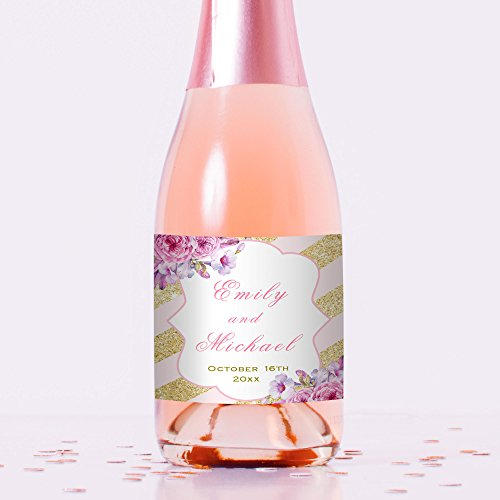 100 Mini Wine or Mini Champagne Bottle Labels Personalized Pink Gold Floral Waterproof