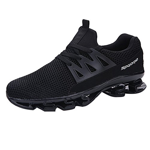 Unisex Mesh Lace Up Couple Mens Sports Blade Shoes Wear Resistant Non-Slip Light Running Shoes (Black 01, US:9.5)
