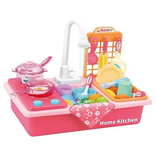 Almencla Juguetes de Cocina para Niños Lavavajillas Eléctrico Corte Educativo Juego de Roles Juguete para Niñas - Rosa 28 Piezas