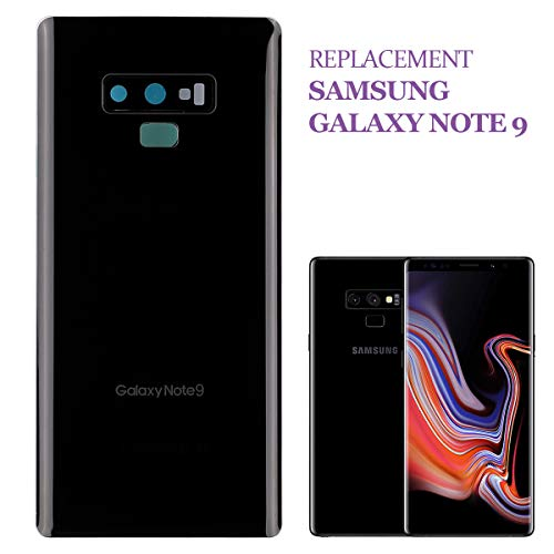 swark, cover posteriore per batteria compatibile con Samsung Galaxy Note 9 N960F, colore nero, con cornice decorativa per la fotocamera (senza vetro) e copertura flash