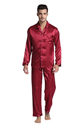 Tony & Candice Herren Pyjama Lang Klassische Satin Schlafanzug (XXL, Burgund)