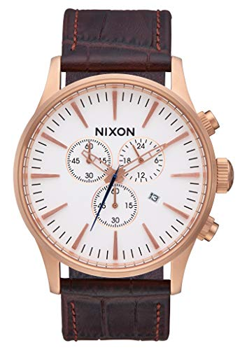 Nixon Armbanduhr Sentry Chrono Leder Rose Gold / Brown Gator
