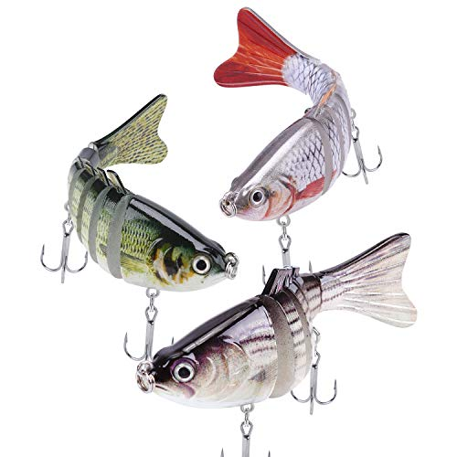 A AKRAF Lifelike Fishing Lures for Freshwater and Saltwater Angling – Realistic Trout and Bass Lures with Segmented Bodies, Rustproof Dual Treble Hooks and Integrated Gravity Ball for Diving (3 Pk)