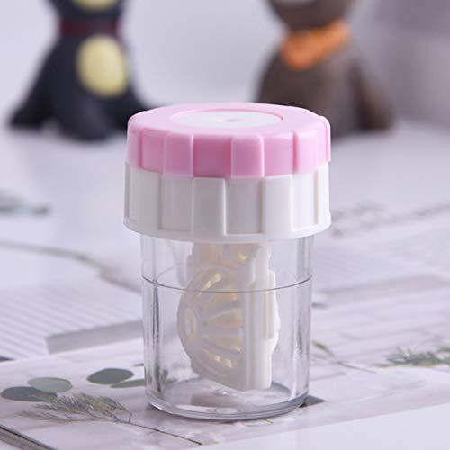 Kleine Kontaktlinsenreiniger Tragbare Manuelle Rotation Stealth Brillen Box Manuelle Reinigung Brillen Kontaktlinsenreiniger (Pink) JBP-X