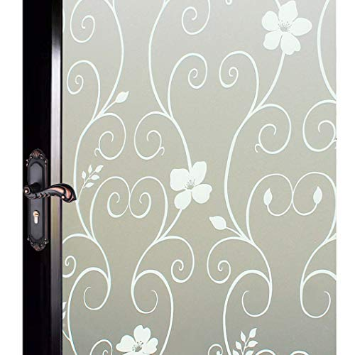 DUOFIRE Window Film Privacy Window Film Frosted Glass Film Static Cling Glass Film No Glue Anti-UV Window Sticker for Bathroom Bedroom Living Room (White Flower-DP014W, 35.4in. x 78.7in.)