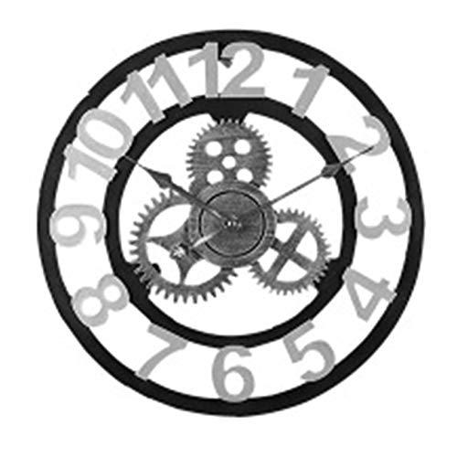 W.zz Arabische Ziffern Wanduhr Zahnrad, Uhr Zum Aufhängen, 3D, Industrial Look, Batteriebetrieben, Lautlos, 40Cm,Silber