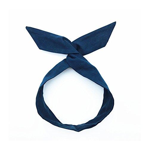 Fablcrew Serre-tête vintage avec nœud pour cheveux, pour femme 25*5.5cm bleu