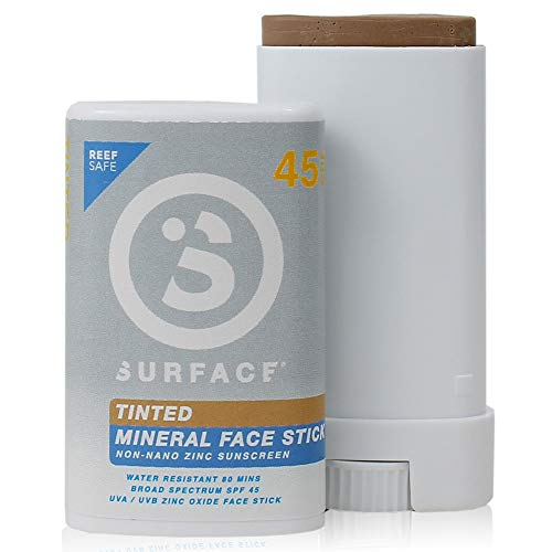 Surface Tinted Mineral Face Sunscreen Stick - Reef Safe, Broad Spectrum UVA/UVB Protection, Non-Migrating, Non-Greasy, Ultra Water Resistant - SPF 45, 0.5oz