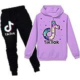TIK Tok Unisex Kinder-Bekleidung Anzug bestehend aus Kapuzenpullover und Hose Gr. 12-13 Jahre, Violett 2