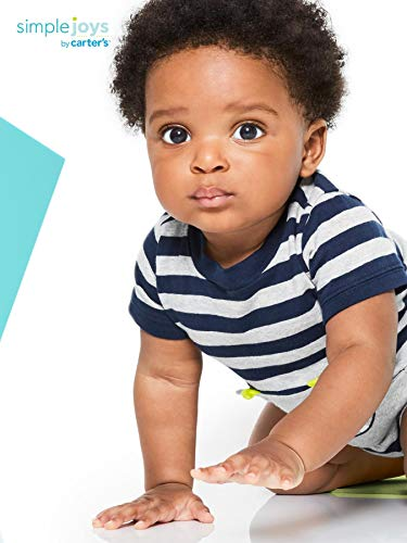 Simple Joys by Carter's Baby Boys' 3-Pack Rompers, Blue Stripe/Turquoise Dino/Grey Navy, 12 Months