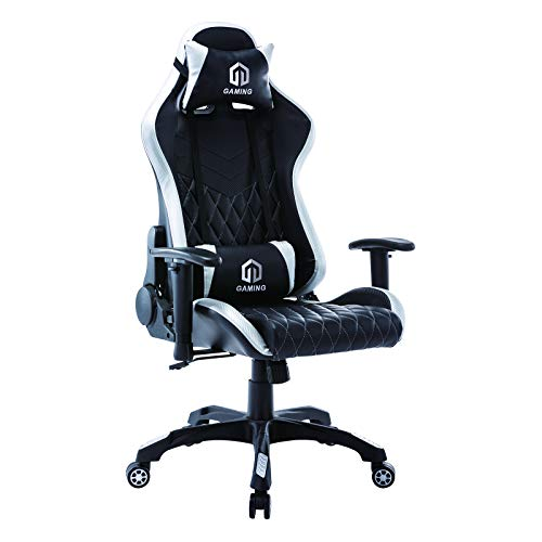 Gaming Chair Racing Office Chair Computer Desk Chair Executive and Ergonomic Reclining Swivel Chair with Headrest and Lumbar Cushion (BK/White) Categories