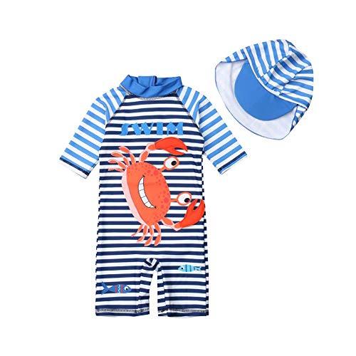 Baby Jungen EinteilerSchwimmanzug Badenmode Kleinkinder Niedlich Cartoon Streifen Badeanzug mit Badekappe UPF 50+ (3-4 Jahre)
