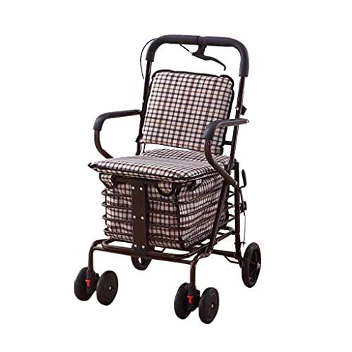 showyow Coche de mano con ruedas de acero al carbono, carrito de la compra plegable puede llevar al andador de carretilla de ancianos para recoger un camión de verduras con un asiento ligero