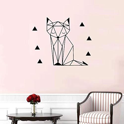 Pegatinas de pared de zorro geométrico Pegatinas removibles Decoración de papel tapiz DIY Calcomanías de pared de vinilo para niños Habitación de bebé Dormitorio familiar42x40cm