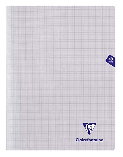 Clairefontaine 393312C - Un cahier piqué Mimesys 48 pages 24x32 cm 90g petits carreaux, couverture polypro (plastique), Incolore