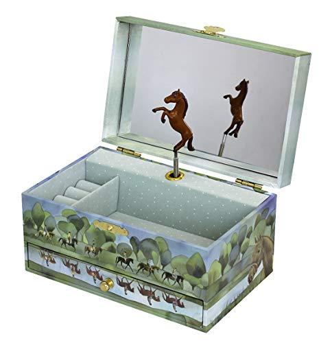 Trousselier - Pferd aus der Normandie - Musikschmuckdose - Spieluhr - Ideales Geschenk für junge Mädchen - Phosphoreszierend - Leuchtet im Dunkeln - Musik Beautiful Dreamer - Farbe grün