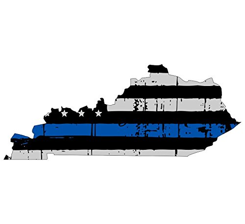 Kentucky Tattered Thin Blue line us Flag Honoring Our Men & Women of Law Enforcement car Symbol Sticker Decal die Cut Vinyl Window Computer - Made and Shipped in USA