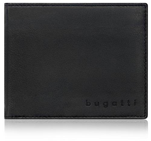 Bugatti Lima Geldbörse Herren Leder – Portemonnaie Herren Querformat Schwarz – Geldbeutel Portmonee Wallet Brieftasche Männer Portmonaise