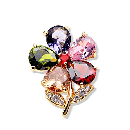 U/N Pin de Collar de Flores de circonio cúbico Unisex Mujeres y Hombres Pin de Broche Disponible Accesorios de Camisa de joyería de Verano