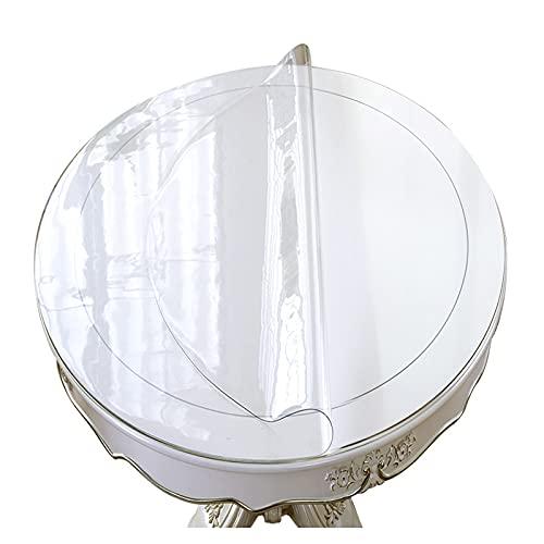 Cubierta De Mesa Grueso Limpiable,Mantel Vinilo Plástico 1,5mm,Almohadilla Protectora De Cristal Transparente,para Picnics,Fiestas,Banquetes,manteles Redondo Impermeable,120cm/47in