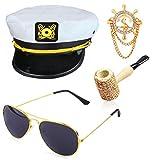 Beelittle Yacht Capitán Sombrero Accesorios de Disfraces Conjunto Barco Ajustable Marinero Nave Skipper Gorra Aviador Gafas de Sol Pipa de Tabaco con Accesorios de diseño de Ancla (H)