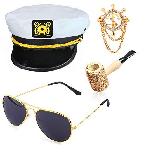 Beelittle Yacht Capitn Sombrero Accesorios de Disfraces Conjunto Barco Ajustable Marinero Nave Skipper Gorra Aviador Gafas de Sol Pipa de Tabaco con Accesorios de diseo de Ancla (H)