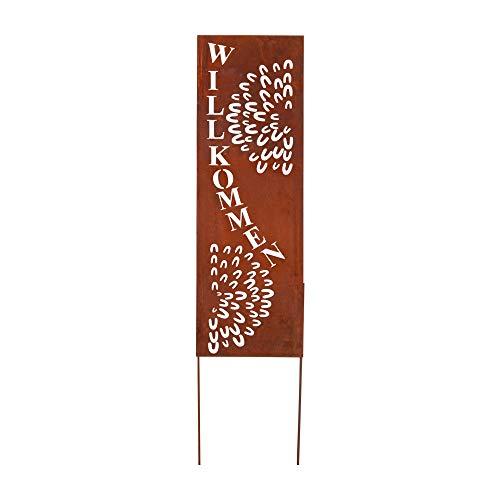 RM Design Gartendekoration Roststecker Metallschild mit Willkommen Spruch 66 x 22 cm