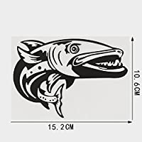 HXZH 15.2cmx10.6cm人格海洋生物デカールフィッシュビニール車ステッカー (Color Name : BLACK)