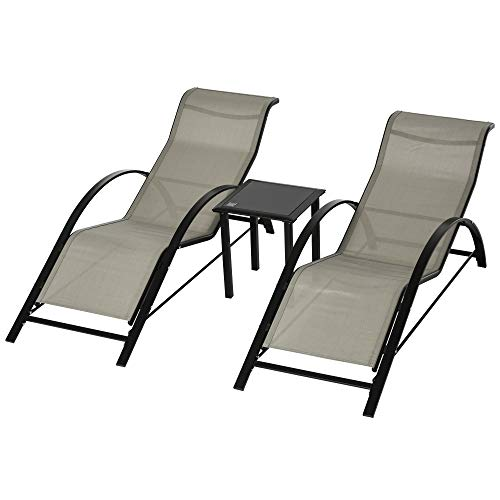 Outsunny Rattan 3 Pieces Lounge Chair Set Garden Outdoor Recliner...