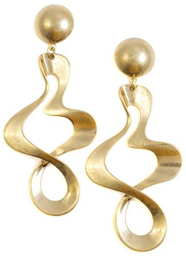 Happiness Boutique Damas Pendientes de Aro Torcido en Color Oro | Pendientes Largos Llamativos de Diseño Abstracto