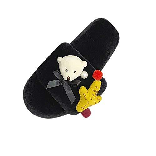 HIUGHJ Pantuflas cálidas Zapatillas de algodón para Mujer Zapatillas de casa Zapatillas...