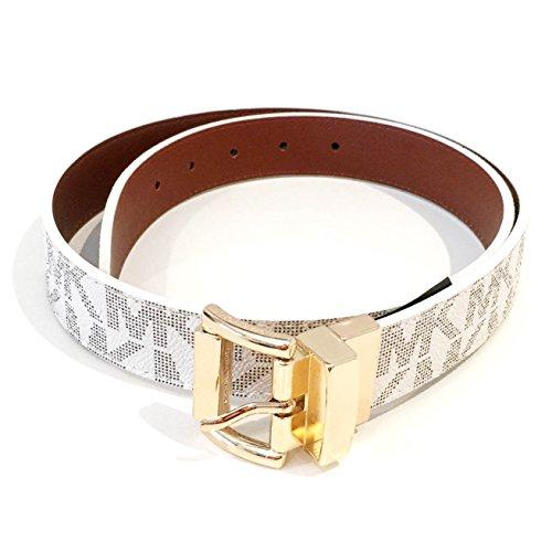 Michael Kors Monogram Belt and Gold Buckle Brown/White Reversible Medium