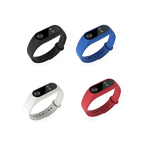 PINHEN Kompatibel für Xiaomi Mi Band 2 Armband - Wasserdicht Ersatzband Silikon Verstellbaren Sport Uhrenarmband für Mi Band 2 (4pcs Set1)