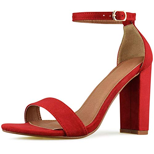 Women's High Chunky Block Heel Pump Dress Heeled Sandals (9, RED)