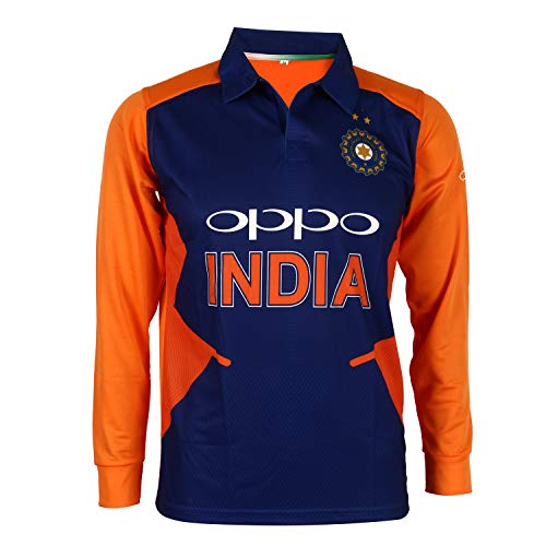 KD Cricket Team India Away Jersey Full Sleeve Cricket Supporter T-Shirt New Orange Team Uniform Polyster Fit Material 2019-20 (Plain,44)