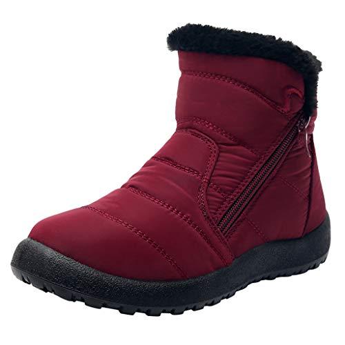 Dorical Damen Schneestiefel Winterschuhe wasserdichte Ankle Boots Winter Warm Gefüttert Snowboot Damenstiefel Gr 35-43(Rot,39 EU)