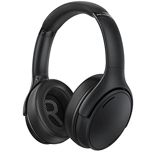Cuffie Bluetooth Cancellazione Attiva del Rumore, Cuffie Over Ear con Microfono CVC8.0, Bassi Profondi Hi-Fi, Ricarica Rapida, 35 ore di Riproduzione, Cuffie per Ufficio a Casa, Viaggi, PC, TV